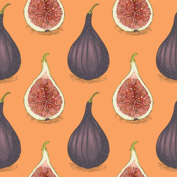 Seamless Vector Pattern with Ripe Whole Fig Seamless Vector Pattern with Ripe Whole Fig on an Orange Background fig stock illustrations