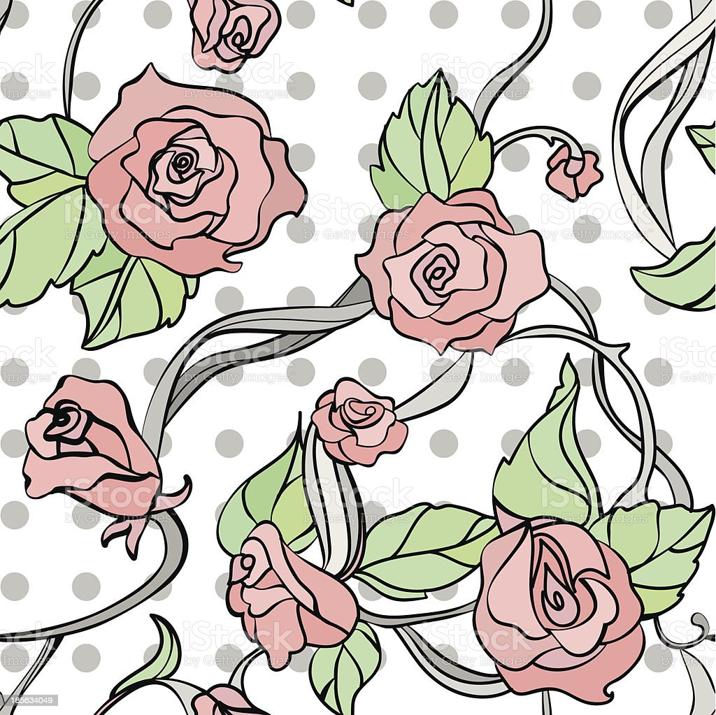 seamless vector pattern with roses royalty-free stock vector art