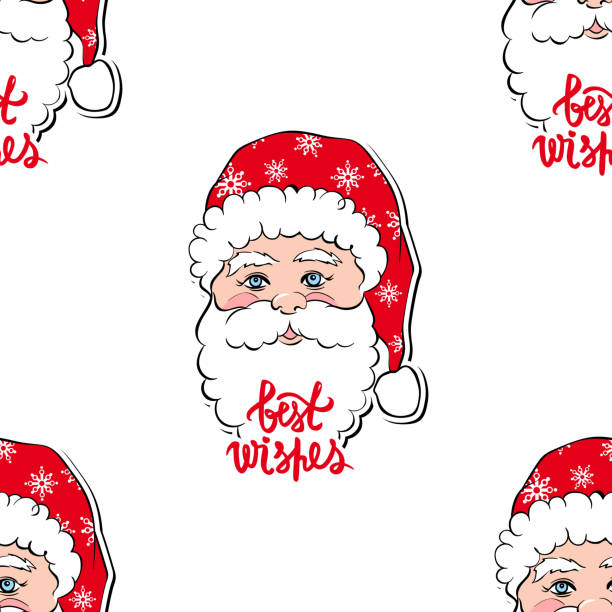 seamless vector pattern with santa claus merry christmas and happy new year background vector