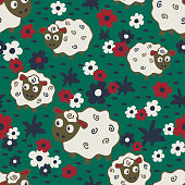 Repeat vector pattern with sheep and flowers on green background.