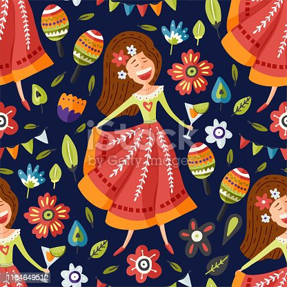 istock Seamless vector pattern with singing happy Mexican girl. 1184649512