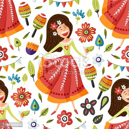 istock Seamless vector pattern with singing happy Mexican girl. 1188388905