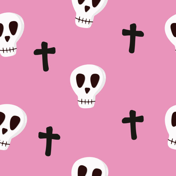 Seamless vector pattern with skulls and crosses on a colored background. vector art illustration