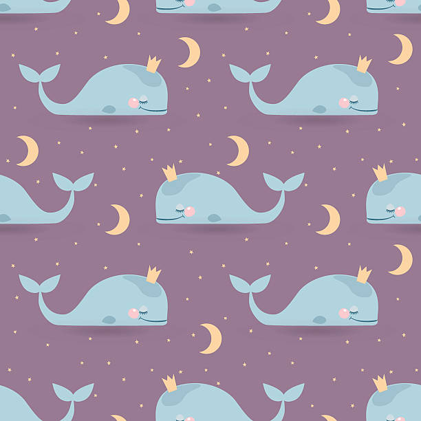 Seamless vector pattern with sleeping whales, moon & stars. Good vector art illustration