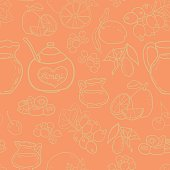 Seamless vector pattern with spices, honey, milk, berries and fruits for autumn beverages. Vector hand drawn illustration.