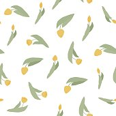 Seamless vector pattern with spring yellow flowers and buds. Tulips. Suitable for fabric, textile,