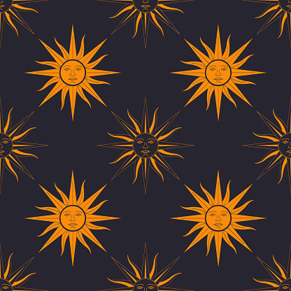 Seamless vector pattern with Sun of May ancient symbol of Incan sun god Inti