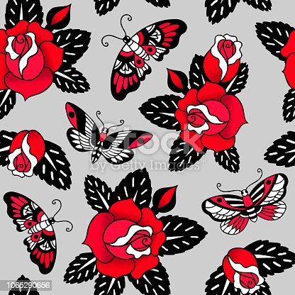 Seamless vector pattern with tattoo roses and butterflies on grey background.