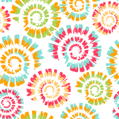 Seamless vector pattern with tie dye spiral on white background. Simple colourful spiral wallpaper design. Artistic deco fashion textile.