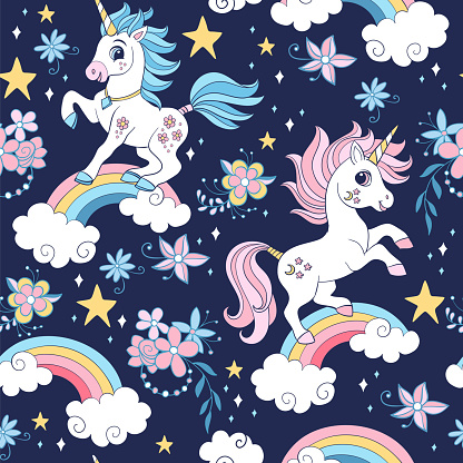 Seamless vector pattern with unicorns and cosmic and floral elements
