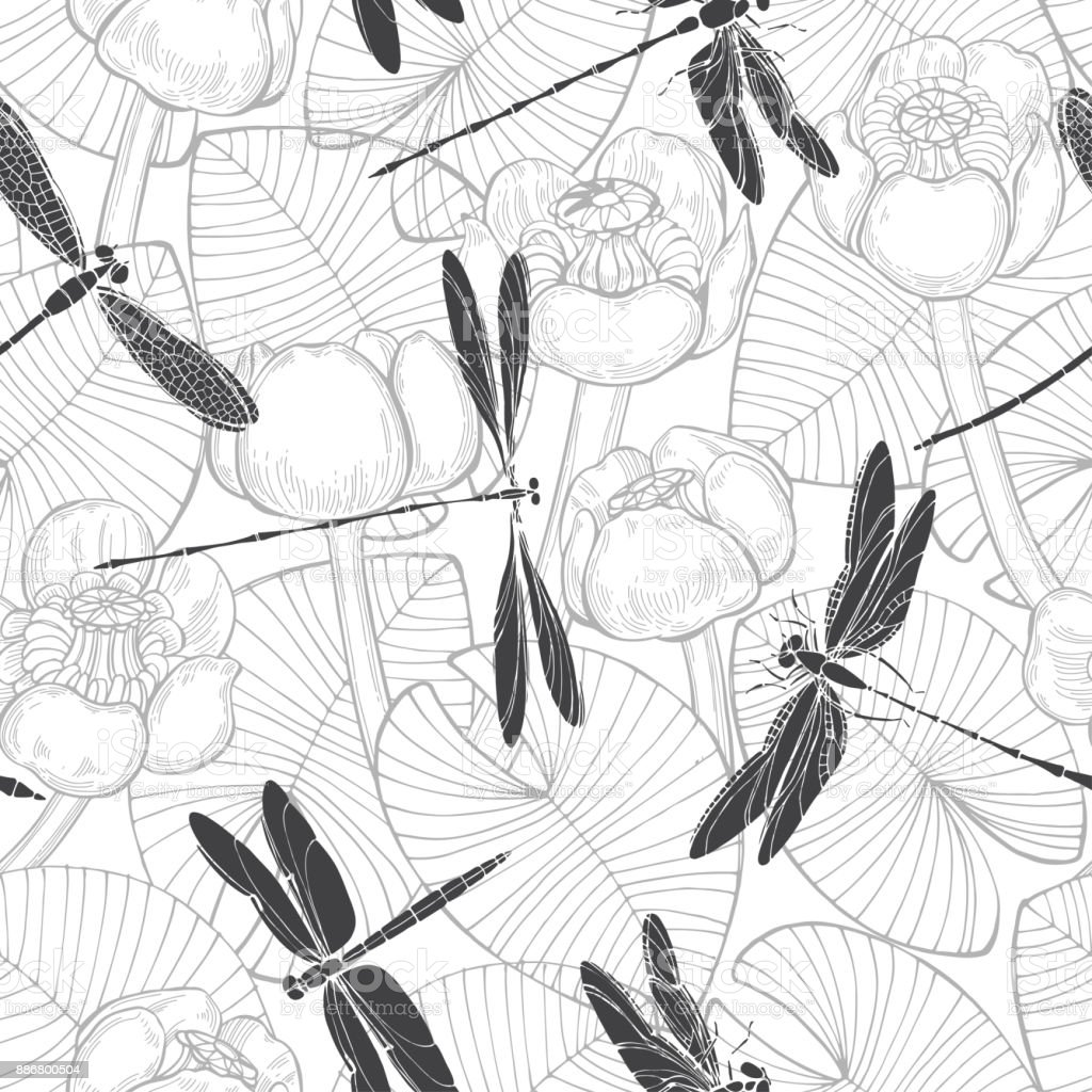 Seamless vector pattern with water lilies and dragonflies. Monochrome  hand-drawn illustration. vector art illustration