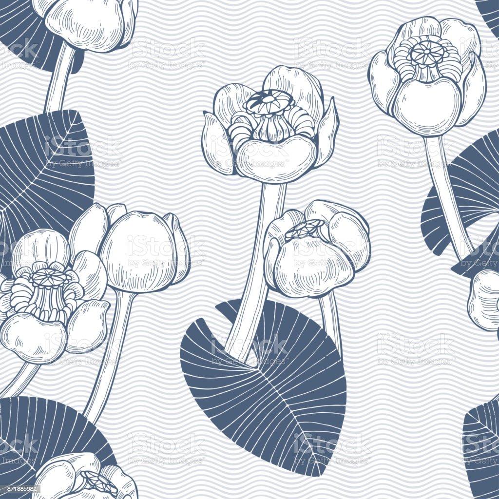 睡蓮とシームレスなベクトル パターンモノクロの手描きイラスト