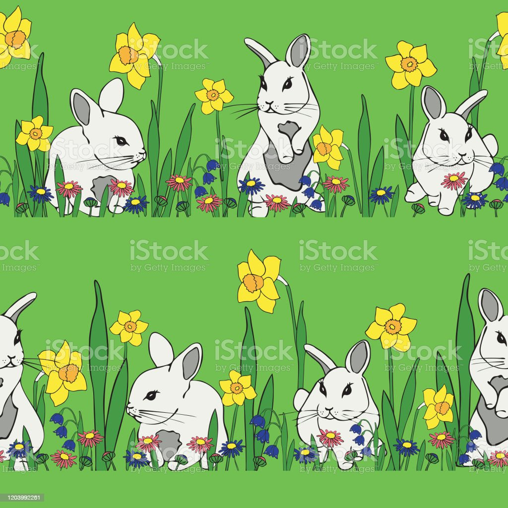 緑の背景に白いバニーと春の花とシームレスなベクトルパターンかわいい動物の花の壁紙のデザイン保育園の装飾壁紙ファブリックのための理想的な アナウサギのベクターアート素材や画像を多数ご用意 Istock