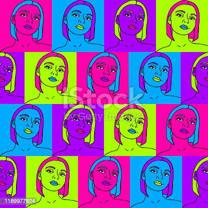 repeat vector pattern with neon women.