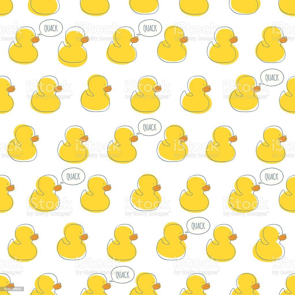 Seamless vector pattern with yellow baby ducks. vector art illustration