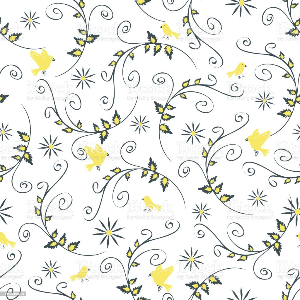 Seamless Vector Pattern With Yellow Birds And Flowers Floral