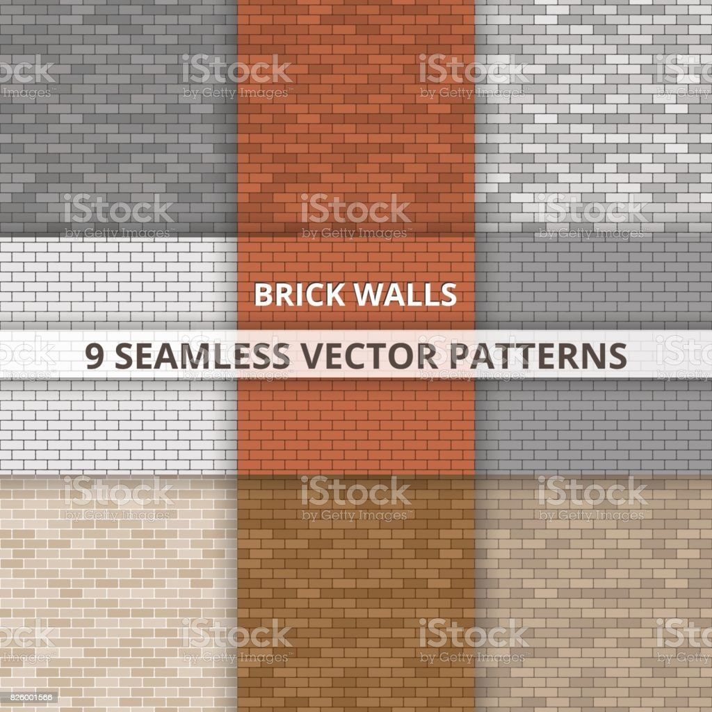 9 Seamless vector patterns. Brick wall paterns. Abstract background vector art illustration