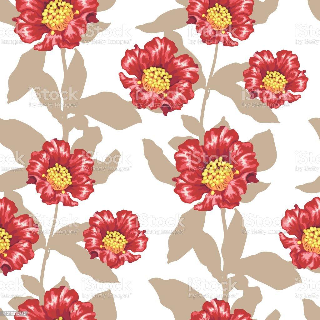 Fleurs De La Grenade Lumineuse Patternwith Vectorielle Continue Et