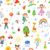 Seamless vector patttern with happy playing and jumping boys and girls and childrens drawing doodles