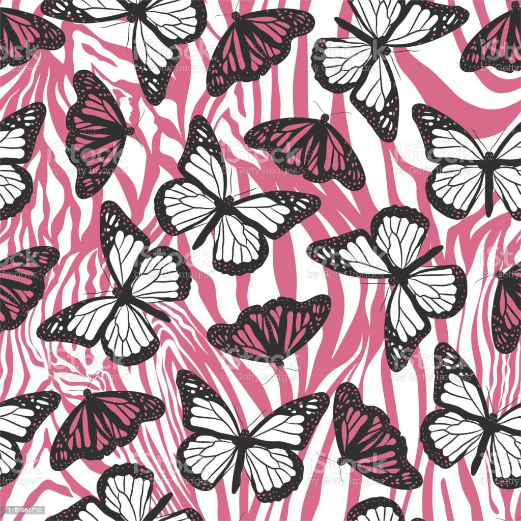 Seamless Vector Pink Butterflies Pattern Butterfly On Zebra Print