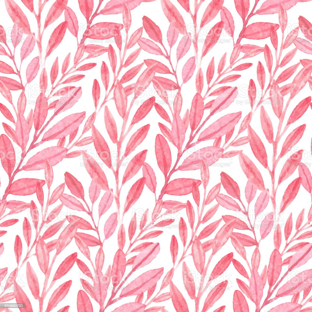 Seamless vector Pink pattern of leaves vector art illustration
