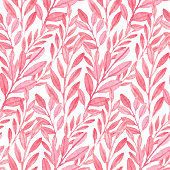 Seamless vector Pink pattern of leaves