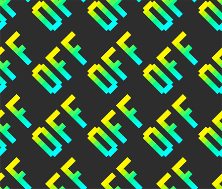 Seamless vector pixel off signs pattern. Multicolor rainbow outline repeat signs background. 10 eps design. For advertising banner, design, web, fabric, cover, wrapping etc.