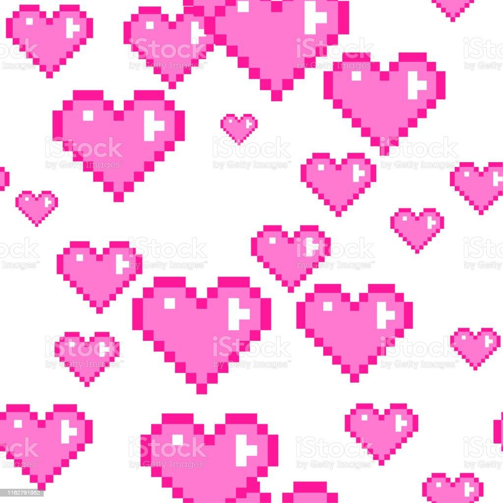 Motif De Coeurs Roses De Pixel De Vecteur Sans Couture Amour Pixel Art 10 Eps Fond De Jour De Valentine Pour Le Design Le Tissu Le Textile La Couverture Lemballage Vecteurs Libres