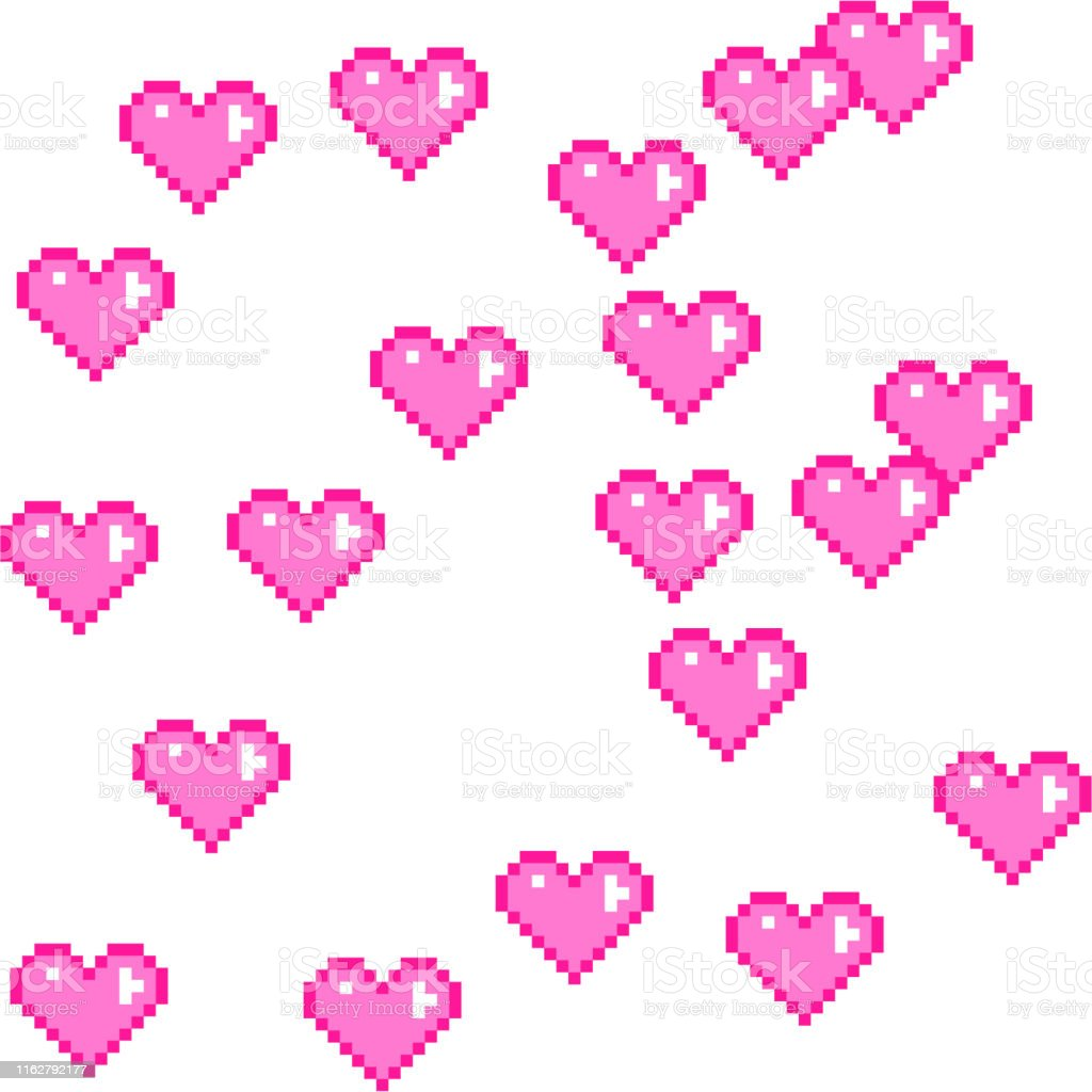 Seamless vector pixel pink hearts pattern. Love pixel art 10 eps....