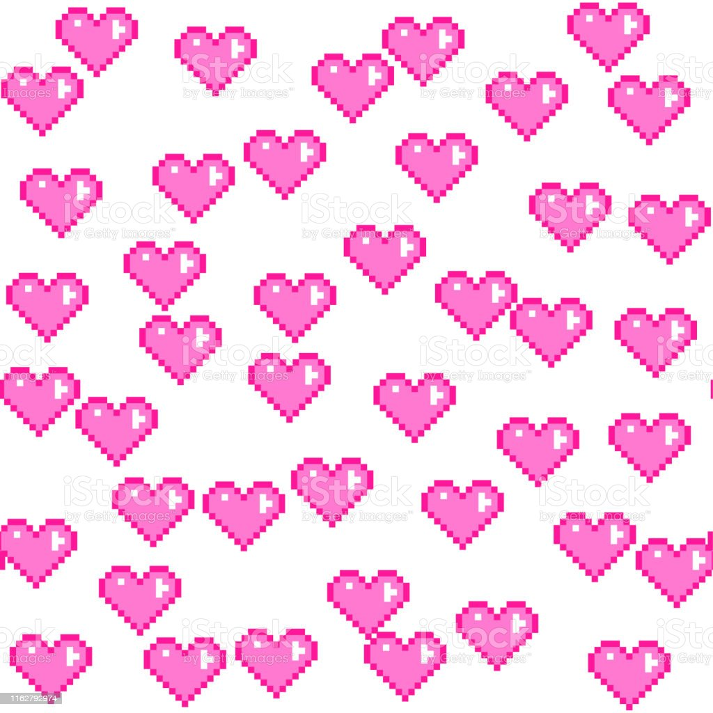 Motif De Coeurs Roses De Pixel De Vecteur Sans Couture Amour