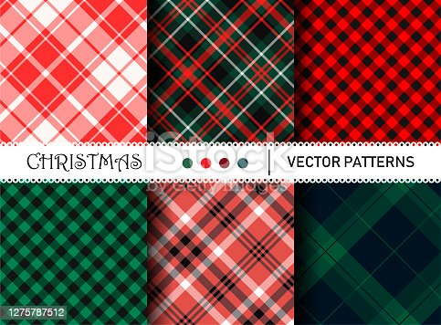 Seamless vector plaid patterns. Set of Christmas tartan gingham patterns. Collection of happy new year traditional backgrounds. For packaging, fabric, textile, cover etc.