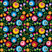 Repetitive colorful background with flowers - Slavic folk art pattern