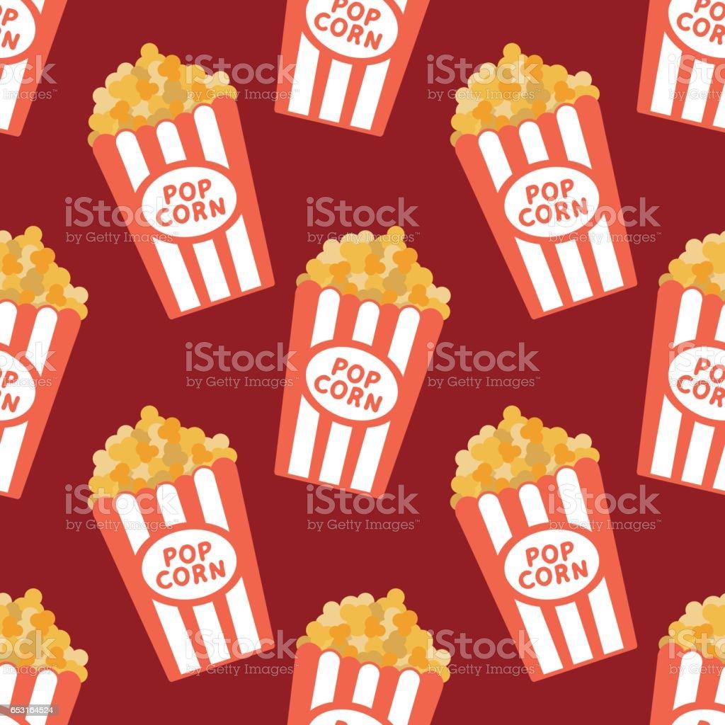 Popcorn Wallpaper: Seamless Vector Popcorn Background Cartoon Vector