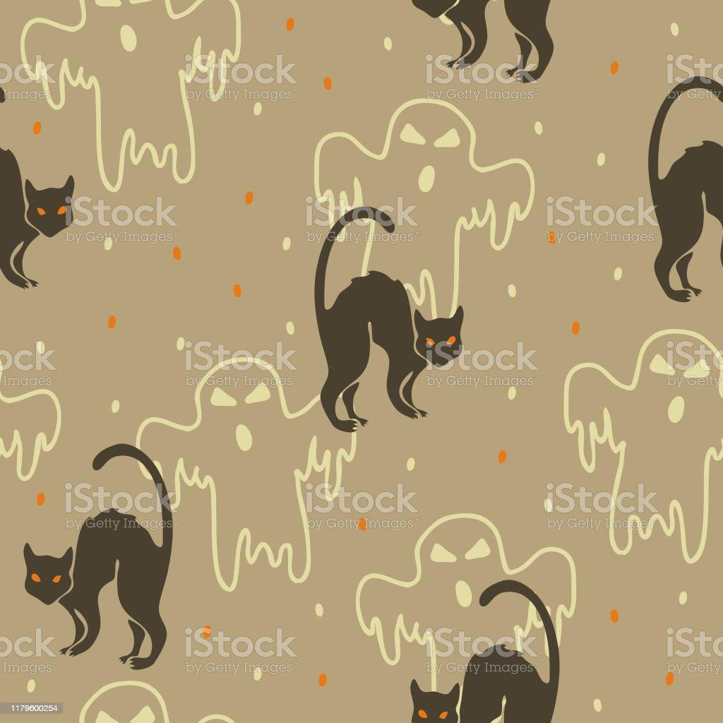 薄い灰色の背景に黒猫と幽霊とシームレスなベクトル繰り返しパターンハロウィーンの壁紙 いたずらのベクターアート素材や画像を多数ご用意 Istock