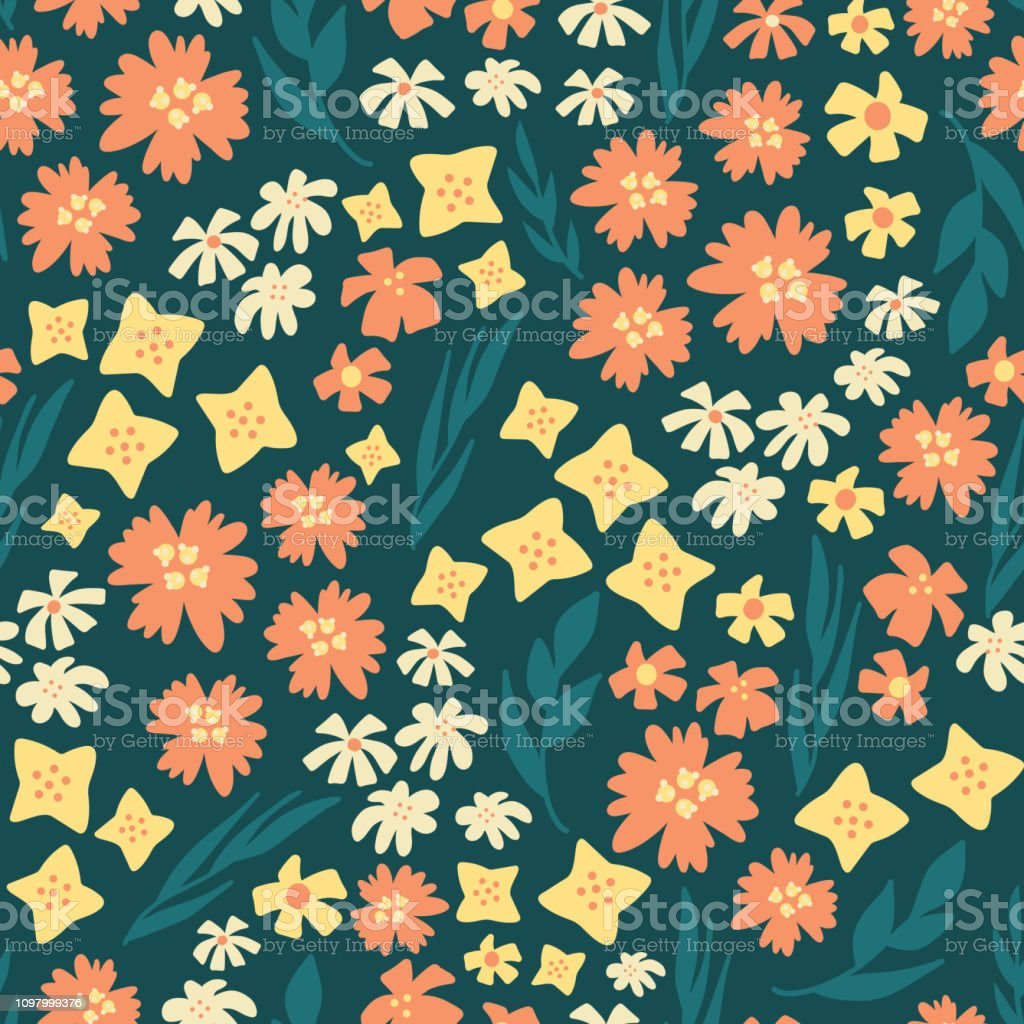 Seamless vector repeat scattered flowers pattern vector art illustration