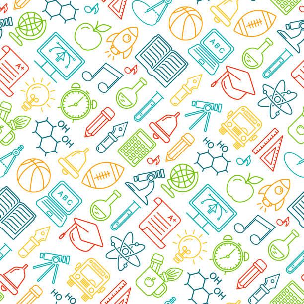 Nahtlose Vektor-Schule Hintergrund. Bildungsmuster mit Linienstilsymbolen. – Vektorgrafik