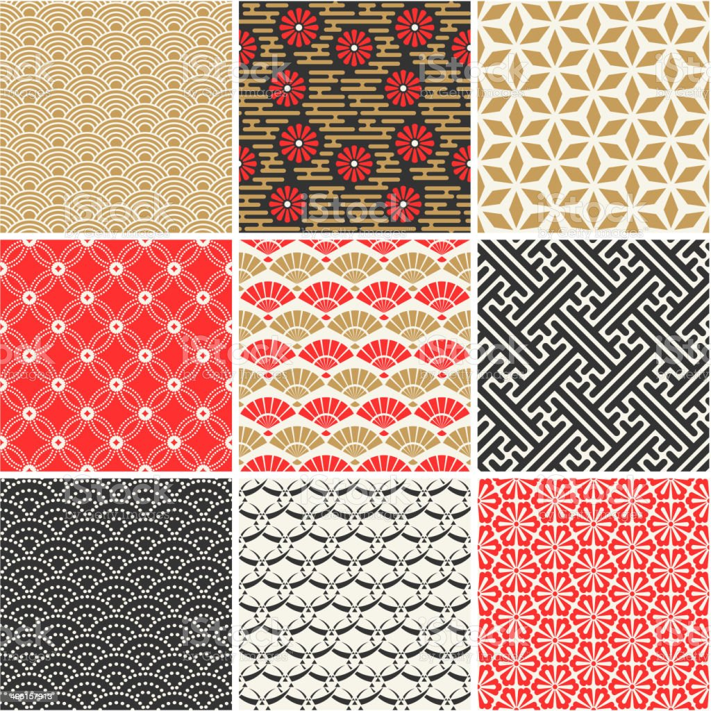 Seamless vector set of Japanese patterns vector art illustration