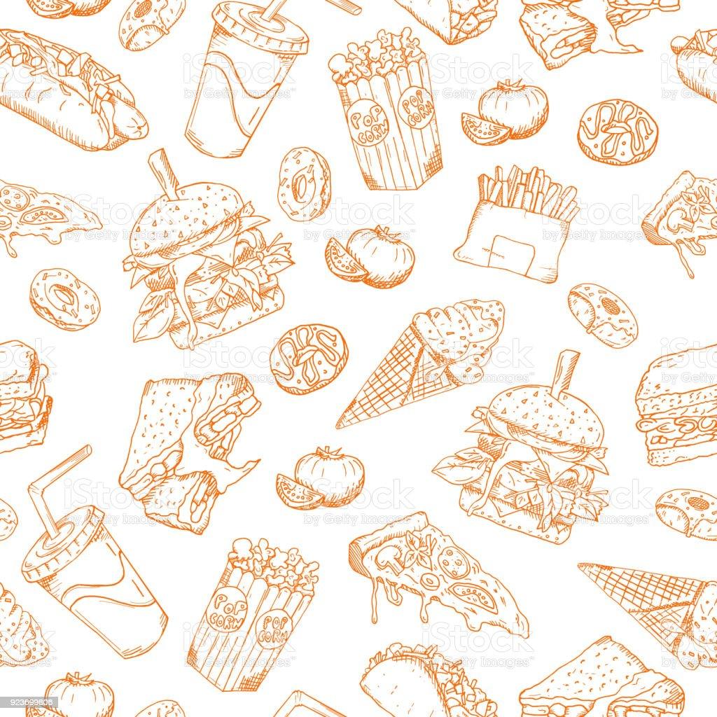 Seamless Vector Sketch Background Retro Illustration Wallpaper Backdrop Texture Pattern