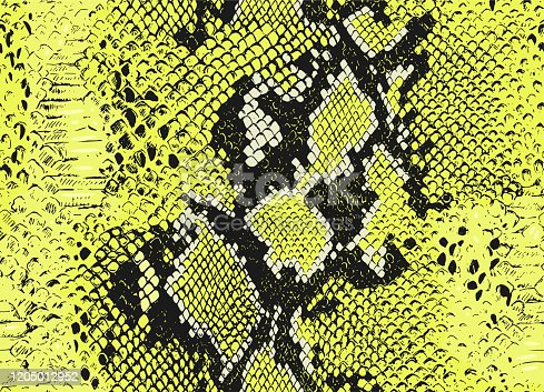 Seamless vector snake animal skin pattern. Snakeskin pattern. Black and yellow wildlife background. For fabric, textile, wrapping, cover, web etc.
