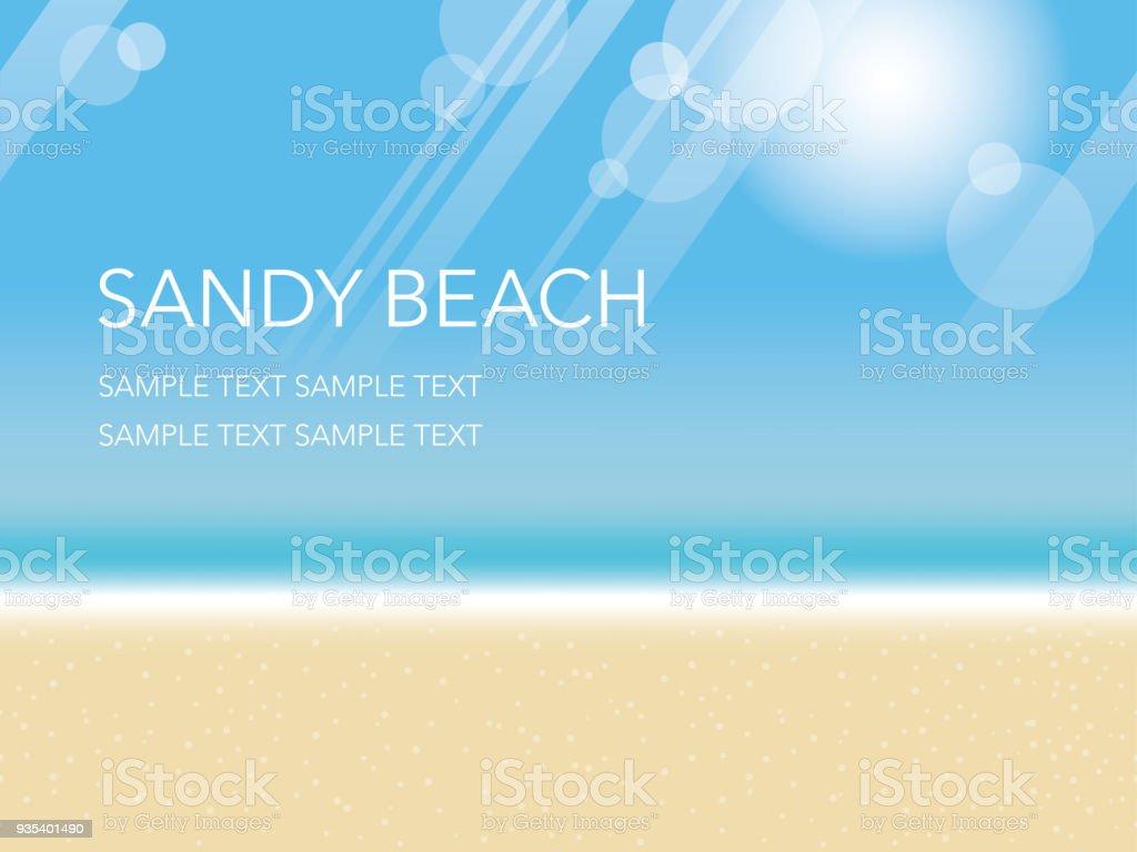 砂浜のビーチ青い空と海とのシームレスなベクトル夏背景イラスト