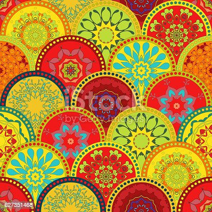Mega Gorgeous seamless patchwork pattern from colorful Moroccan tiles, ornaments. Can be used for wallpaper, pattern fills, web page background,surface textures.Luxury oriental tile seamless pattern. Colorful floral patchwork background. Boho chic style. Rich flower ornament. Square design elements. Portuguese moroccan motif. Unusual flourish print.