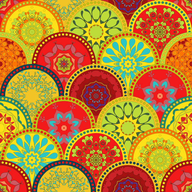 illustrations, cliparts, dessins animés et icônes de seamless vector tribal texture set. tribal seamless texture. vintage ethnic. - motif de carrelage