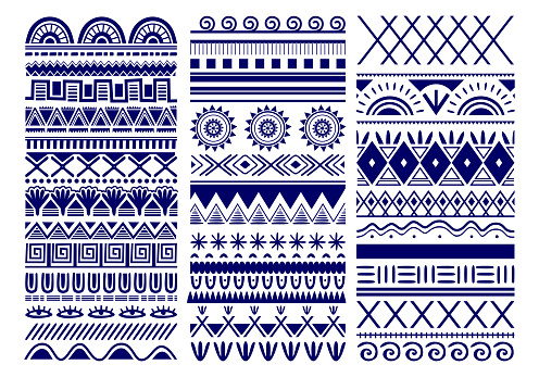Seamless vector tribal. Vintage ethnic pattern backdrop. Tribal art in traditional classic seamless pattern in blue and white color. Good for wallpaper, cloth design, fabric, paper, textile