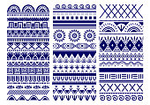 istock Seamless vector tribal. Vintage ethnic pattern backdrop. Tribal art in traditional classic seamless pattern in blue and white color. Good for wallpaper, cloth design, fabric, paper, textile 1277088778