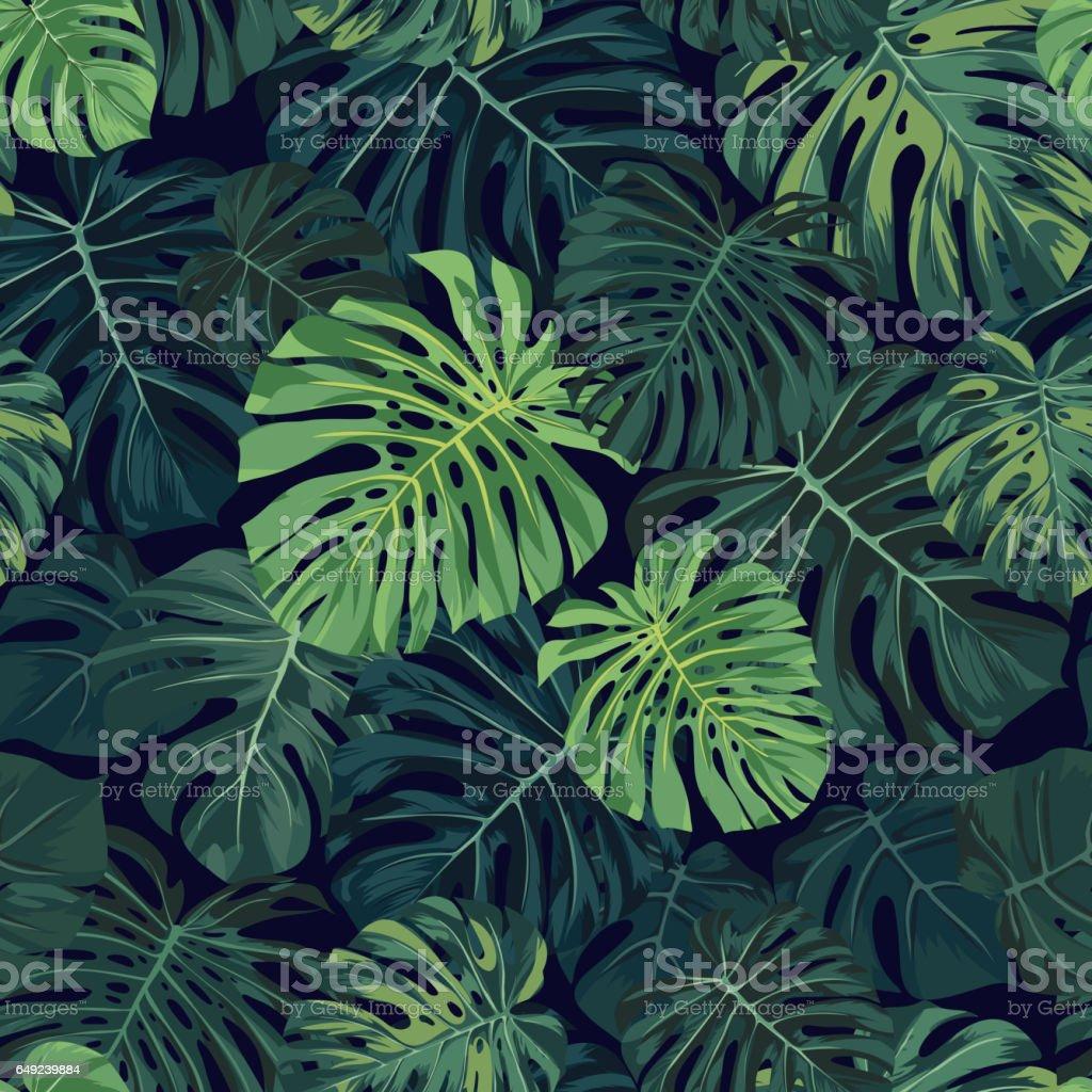 Padrão de tropical vetor sem costura com monstera verde palma deixa no fundo escuro. Projeto de tecido havaiano exótico - ilustração de arte em vetor