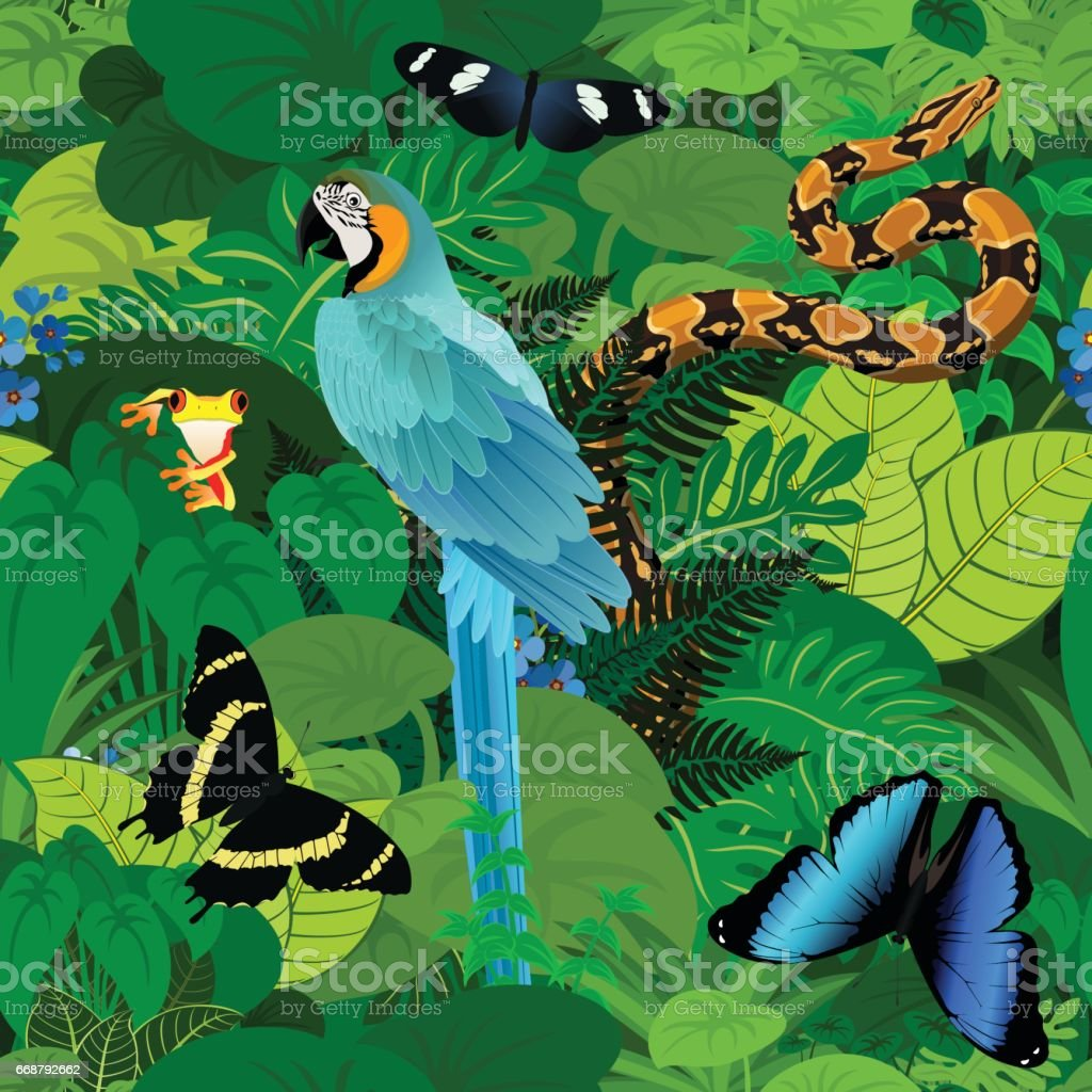 Seamless vector tropical rainforest Jungle background with ara makaw parrot, python and butterflies vector art illustration