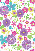Seamless Vector Tween Colored Floral Pattern