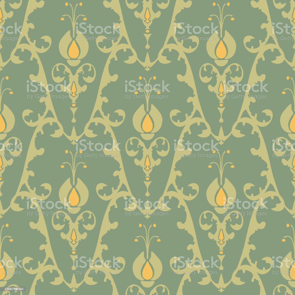 Seamless Vector Wallpaper Design Victorian Style Repeat Floral