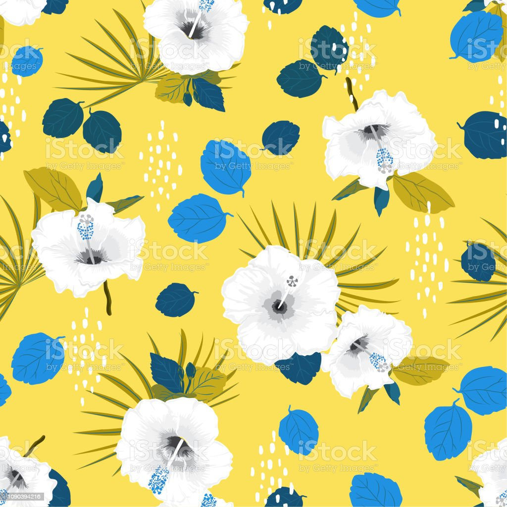 Seamless Vector White Hibiscus Exotic Floral Pattern Spring Summer