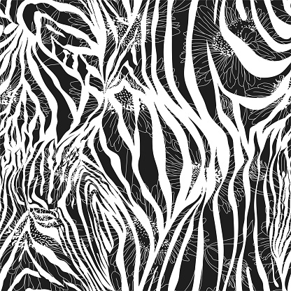 Seamless vector zebra pattern. Flowers stroke on zebra print. Trendy animal motif with chamomiles silhouette wallpaper. Fashionable background for fabric, textile, design, banner, cover.